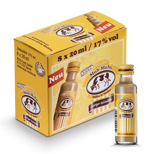 Original Muh - Muhs Toffee Vodka Likör 17% Vol. 8 x 2 cl