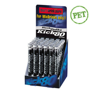 Black KICK80 coole Alkoholspritzen 80% Vol. 36 x 2 cl Pet